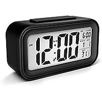 SXWY despertador digital gran pantalla LCD con pilas moderno portátil informe de mañana sensor inteligente snooze retroiluminado multifunción reloj calendario termómetro luz nocturna el tiempo mundial para oficina dormitorio viaje de dormitorio (multicolor),Black