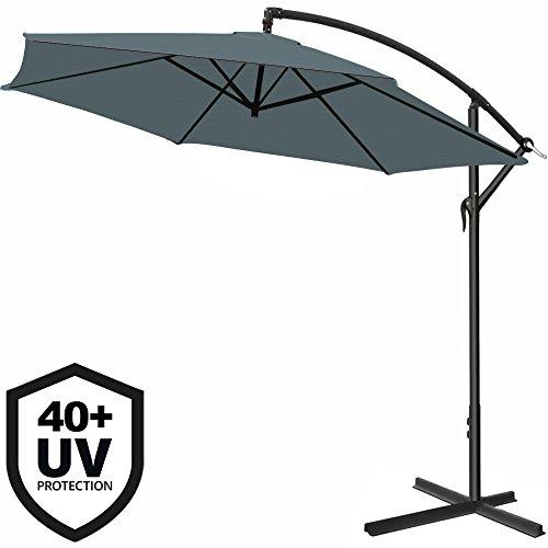 Deuba Parasol en Aluminium Ø 330 cm Gris Manivelle Protection UV 40+ Pare-Soleil