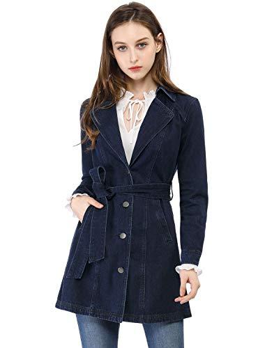 Allegra K Damen Langarm Rever Button Bindegürtel Jeans Trenchcoat Jacke Blau XS (EU 34) Denim Trenchcoat