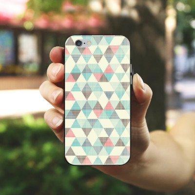 Apple iPhone 6 Silikon Hülle Case Schutzhülle Dreiecke Vintage Muster Pastell Silikon Case schwarz / weiß