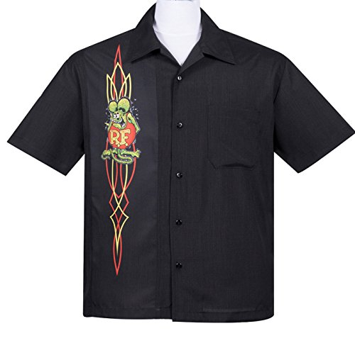 Rat Fink PINSTRIPE Panel Button Up 50s Bowling Shirt HEMD Rockabilly (Button-up-shirt Panel)