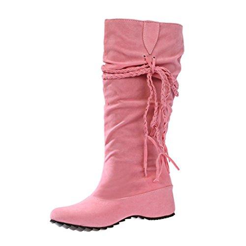Damen Schuhe Dasongff Damen Stiefel Fransenstiefel Langschaft Stiefel Erhöhen Sie Plattform Stiefel Motorrad-Schuhe Runde Flache Stiefel Schlupfstiefel Schuhe Boots (EU:38, Rosa) (Leder Kniehohe Wedge Stiefel)