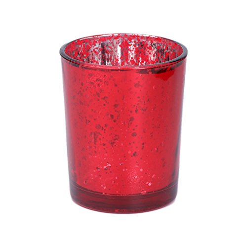 Loegrie. mosaïque en Verre bougeoirs Photophore Bougie Chauffe-Plat pour Mariage Home Party Decor, Red