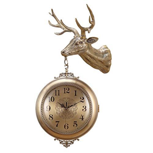 Reloj De Pared De Metal, Reloj De Cuarzo De Dos Caras, Rotación De 360   grados, Cabeza De Ciervo...