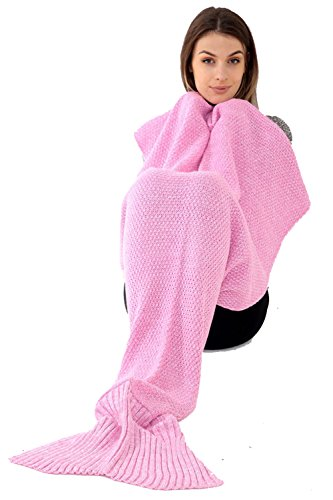 Adulto sirena coda di pesce coperte a mano all' uncinetto Cocoon divano spiaggia maglia trapunta coperta in, Baby pink, taglia unica