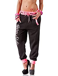 24brands Damen Hose Fitnesshose Jogginghose Sporthose Neon Freizeithose mit Print in 3 Farben S M L XL - 2937