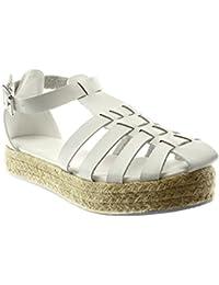 1285b0ffa87ec4 Angkorly Scarpe Moda Espadrillas Sandali Gladiatore con Cinturino alla  Caviglia Donna Multi-Briglia Corda Tacco