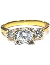 Jewelshingar Jewellery White Gold Plated Solitaire American Diamond Ring For Women ( 22556-ring )