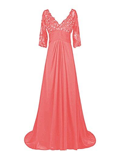 Dressystar Robe de femme,Robe de mère de mariée Robe pour mariage invité longue, à Col en V, 3/4 manche en Mousseline Corail