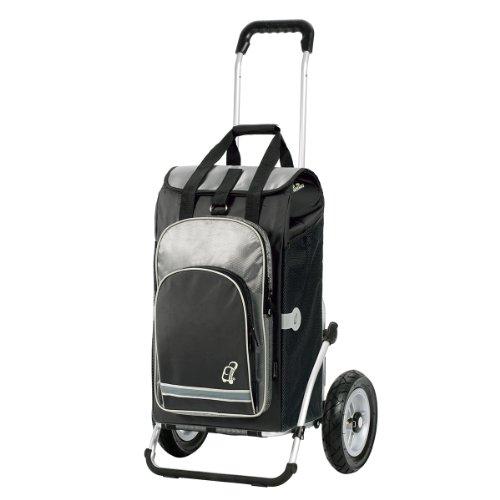 Einkaufstrolley Royal mit großen Rädern luftbereift | Einkaufstasche Hydro schwarz mit Kühlfach | Trolley mit Aluminium Gestell