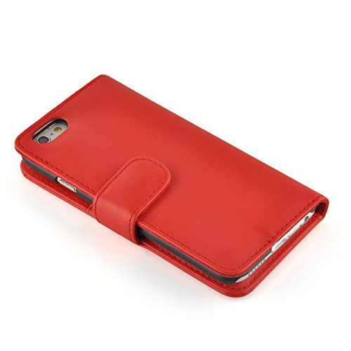 Housse iPhone 4 4s  Coque iPhone 4 4s | JAMMYLIZARD | Housse portefeuille Classique aspect cuir range cartes fermeture magnétique, Vert ROUGE