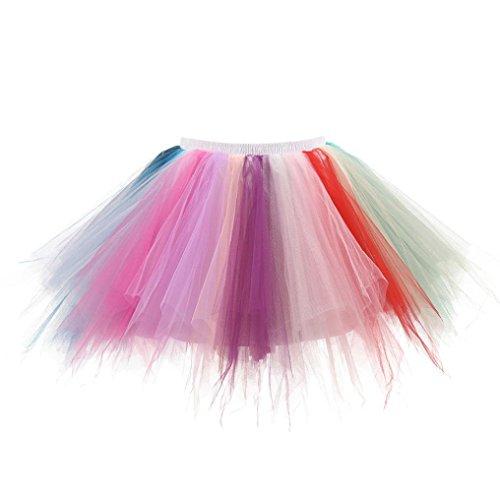 (Damenrock, Dasongff Damen Retro Tüllröcke Kurz 50er Petticoat Reifrock Tutu Unterröcke Underskirt Braut Crinoline Minirock Bunt Ballett Tanzkleid (One Size, Multicolor -A))