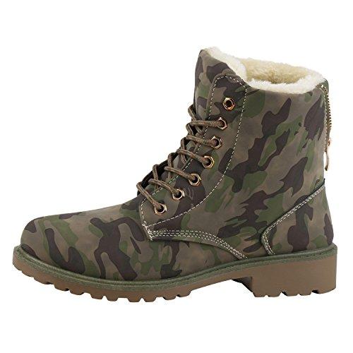 napoli-fashion Damen Herren Schuhe Kinder Schuhe Stiefeletten Worker Boots Outdoorschuhe Schnürstiefel VanHill Camouflage Khaki