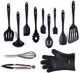 Juego de utensilios, juego completo de utensilios de cocina para cocinar y hornear con silicona de 12 piezas