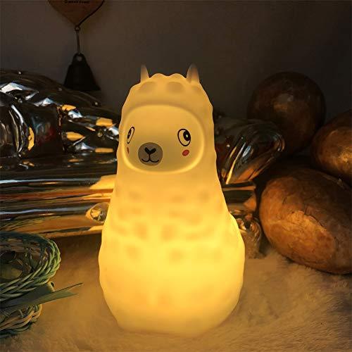 Tianhaixing Nachtlicht für Kinder 9 Farben LED Baby Nachttischlampe wiederaufladbare Kinderzimmerlampe Tragbare Silikon Alpaka Nachtlampe mit Fernbedienung/Touch-Steuerung/Lichtintensität Einstellbar -