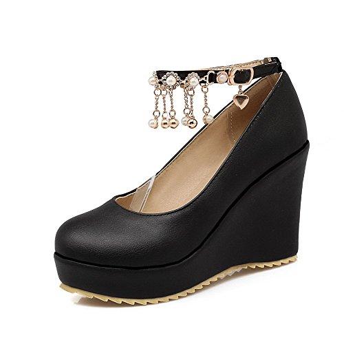 AgooLar Femme Boucle Rond à Talon Haut Pu Cuir Couleur Unie Chaussures Légeres Noir
