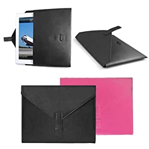 GMYLE (TM) Black PU leather Envelope Portfolio Protective Slim Fit Perfect Fit Sleeve Carry Case Cover Pouch Bag Slip for iPad 2 / the New iPad 3 4 5 iPad Air