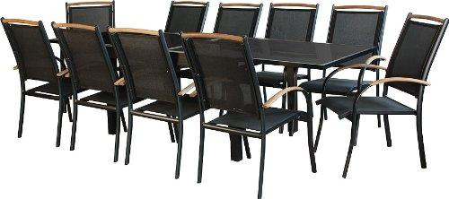 IB-Style - salon de jardin Diplomat - CHAISE EMPILABLE | 4 Variantes | Alu noir / Textile / bois teck | Table à rallonge | Meuble de jardin Table Chaises | 11 pièces