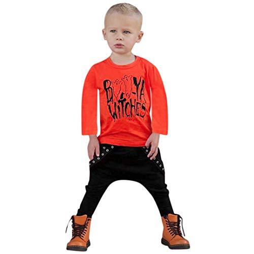 Rosennie Babykleidung Sets Kleinkind Baby Brief Jungen Tops Brief Print T Shirt Hosen Halloween Kleidung Sets Langram Herbst Winter Kinderkleidung Set Kleinkind für Jungen(Orange)