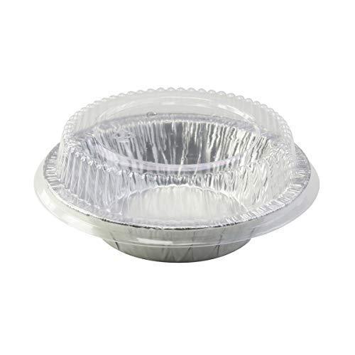 Einweg Aluminium 12,7cm Tart Pfanne/einzelnen Topf Pie Pan w/Klar Dome Deckel # 501P 6 Oz silber Aluminium Pie Pan