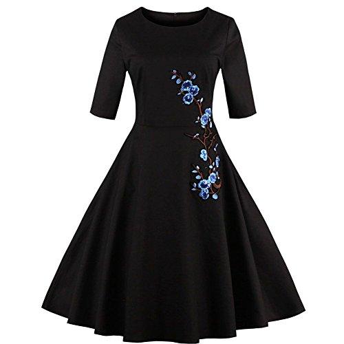 WintCo Robe Femmes 3/4 Manches Plissée avec Broderies Robe de Bal Vintage Style Rétro Audrey Hepburn Tutu Elégante Noir Noir&fleur bleu