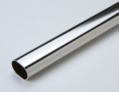 1 Schrankrohr Garderoben Kleiderstange oval Metall vernickelt Länge 1200mm Durchmesser 30 x 15mm