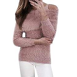 Damen Fleecemantel Faux Schulterfrei Oberteile MYMYG Schal Plüsch Pullover Locker Langarm T-Shirt Warm Faux Fur Loose Fit Top(RosaEU:40/CN-XL)