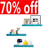 AHDECOR Wandregal Wandboards 3er Set Schwimmende Regal Holz für Wohnzimmer Schlafzimmer Büro oder Küche (Blau)