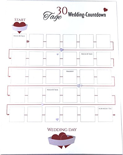Countdown-Kalender für die Hochzeit - Wedding Countdown für das Brautpaar (30 Tage) (Tag Datum-stempel)