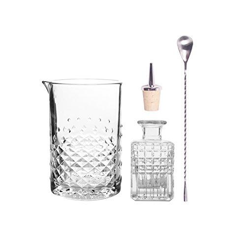 Cocktail Set Stirring, Trend Geschenkbox 4-teilig für Cocktail Fans, Dash Bottle, Barlöffel, Purer, Mixing Glas mit Schliff
