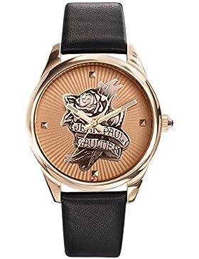 Zeigt Damen–Jean Paul Gaultier–Navy Tatoo–Stahl PVD rosé–Armband Leder Schwarz–8502411