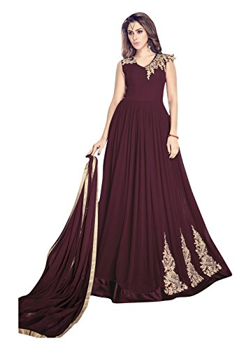 Style New Beautiful Brown Georgette Designer Salwar Kameez