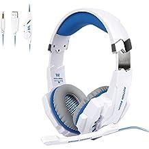 Tsing Auriculares Cascos Gaming de Diadema Abiertos con Micrófono para Portátiles PS4 Móviles Tablet (Blanco)
