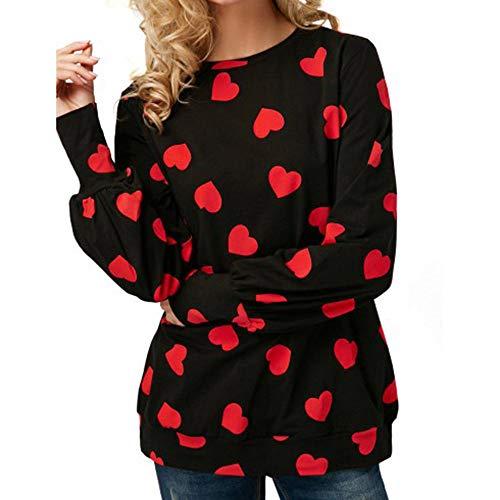 (iHENGH Sweatshirt Damen,Women Herbst LäSsige Herz Bedruckte Lange ÄRmel Pullover Bluse Hemd Sweatshirt Top Shirt(Schwarz,EU-44/CN-2XL)