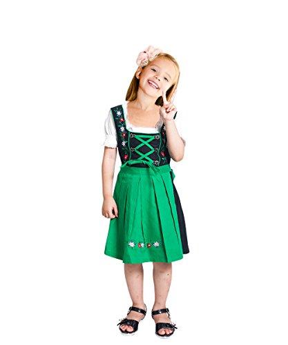 Kostüm Lederhosen Mädchen (Dik07 Dirndl für Kinder, 3 teiliges Trachtenkleid in grün schwarz, Kleid mit Bluse und grüner Schürze für Mädchen, Gr.)