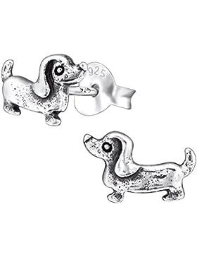 Laimons Kids Kinder-Ohrstecker Kinderschmuck Hund Dackel oxidiert Sterling Silber 925
