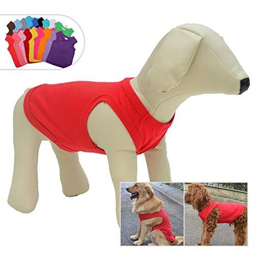 longlongpet 2019 Haustier-Kostüm, Welpen, Hundekleidung, Leere T-Shirts für große, mittelgroße und kleine Hunde, 100% Baumwolle, Klassische Haustierkleidung Welpen, Hundeweste, 18 Farben -