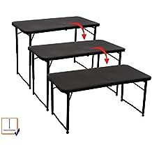 Toolland FP100 Mesa de pícnic con altura ajustable, plegable, 5,4kg de peso, color negro