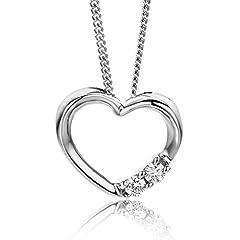 Idea Regalo - Orovi Collana Donna cuore con Diamanti taglio brillante Ct 0.051 in oro Bianco 9 kt 375 catena 45 cm