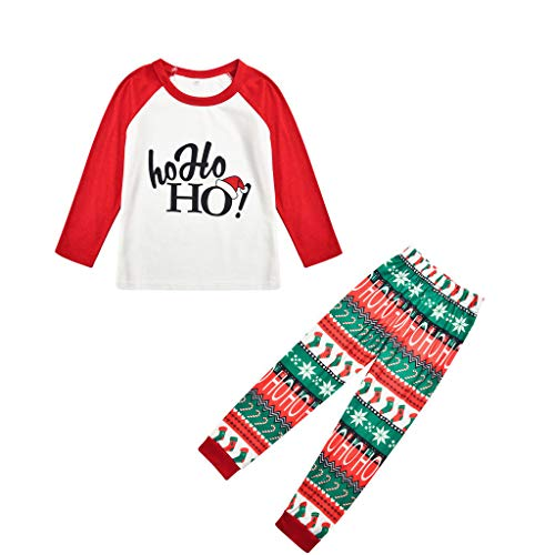 BaZhaHei Neue Weihnachts Schlafanzüge Familie Outfit PrintLong Sleeve T-Shirt + Pants Nachtwäsche Homewear Weihnachtskostüm Schlafanzüge Feiertag Suit Passende 4er-Sets
