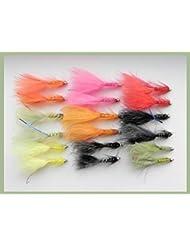 18Oro Cabeza Flash Damsels pesca moscas 9colores. Tamaño 10