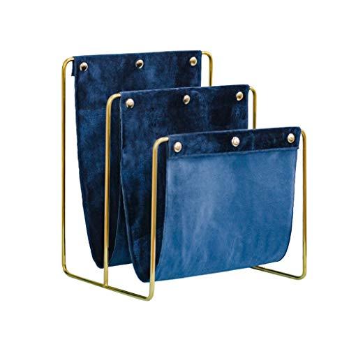 Porte-revues Porte-Bagages en Velours Porte-Bagages De Salon Présentoir D'information Étagère De Lecture Porte-journaux Bleu (Color : Blue, Size : 34.2 * 30 * 41.2cm)