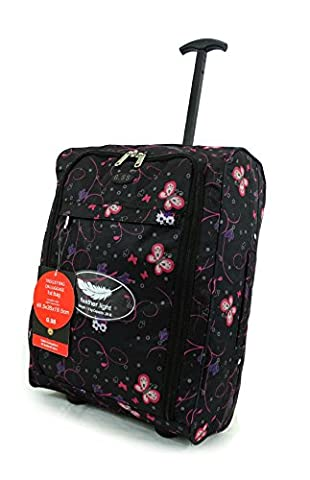 Super Lightweight Cabin Approved Luggage Travel Wheelie Bag suitcase Trolley Cabin Approved Case 50x40x20 Easyjet Ryanair (Butterfly Black)