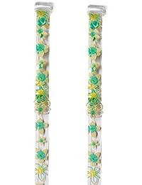 RK 53 Weiß-grün Blumen transparente BH - Träger von Julimex Bh Zubehör