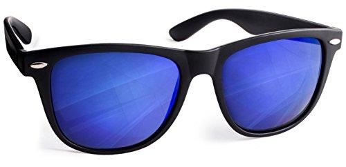 UVprotect Sonnenbrille retro Design verspiegelt Schwarz Dunkelblau W02