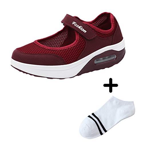 LILIHOT Frauen leichte atmungsaktive Mesh-Schuhe erhöht Freizeitschuhe Outdoor Casual Sportschuhe Dickes Ende Erwachsene Straße Laufen bequem ultraleichte Mode Luftpolster Schuhe Leder Animal-print