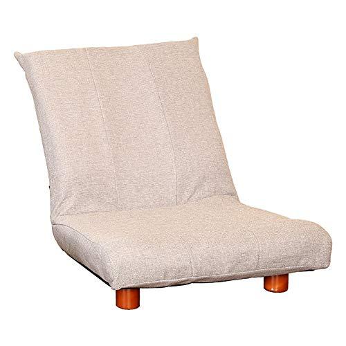 Sedile regolabile divano sedia pigra pieghevole tessuto in lino cotone e gambe in legno chaise lounge morbido divano cuscino seduta (colore : grigio chiaro)