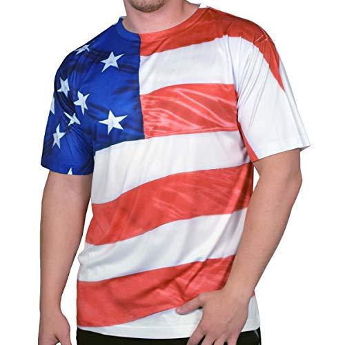 American Flag 4th of July T-Shirt - - XX-Large - American Heavyweight T-shirt