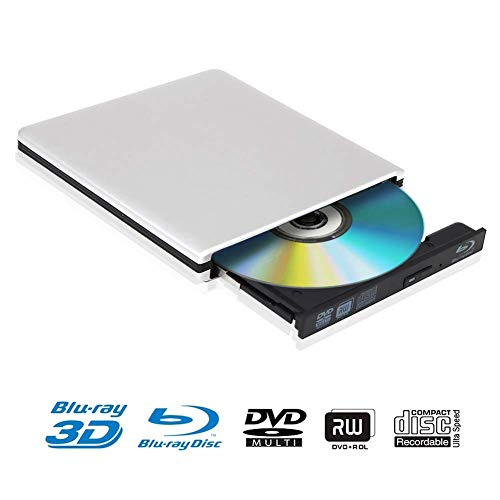 Externe 4k 3D Blu Ray DVD Laufwerk Brenner USB 3.0 Tragbare Ultra Slim BD/CD/DVD RW Player Disc für Windows 10 7/8 / Vista/XP/Mac OS Linux, PC (3d-blu-ray Laufwerk)