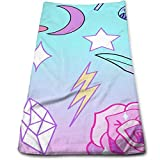 ewtretr Toallas De Mano, Girly Pastel Goth Witch Pattern Cool Towel Beach Towel Instant Cool
